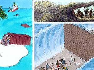 Çizgilerle mülteci dramı