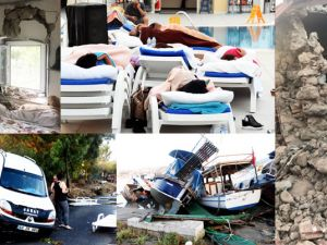 Bodrum'da depremin izleri sabah ortaya çıktı