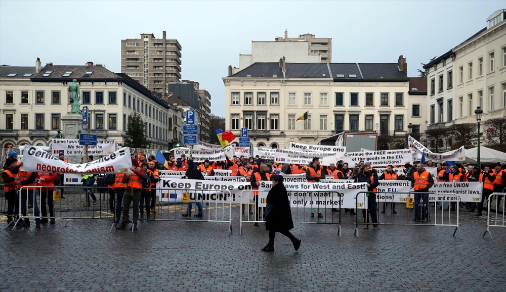 Brüksel'de taşımacılar sokaklarda galerisi resim 19