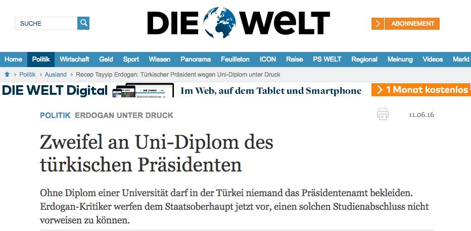 Alman basını: Erdoğan'ın diploması şüpheli