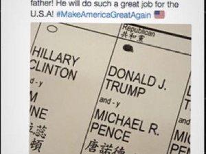 Trump'ın oğlu, oy pusulasını paylaştı