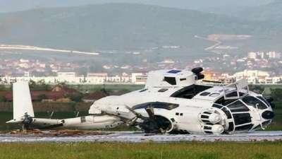 Priştine havalimanında EULEX'e ait bir helikopter düştü (FOTOĞRAFLAR)