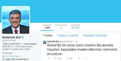 11. Cumhurbaşkanı Gül'den Soma için Twitter mesajı