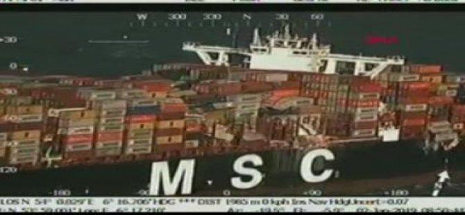 Almanya'da fırtına konteynerleri denize uçurdu