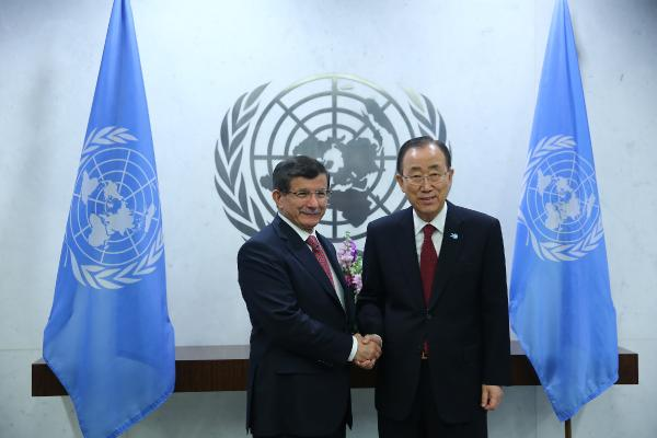Başbakan Davutoğlu BM Genel Sekreteri Ban ile görüştü