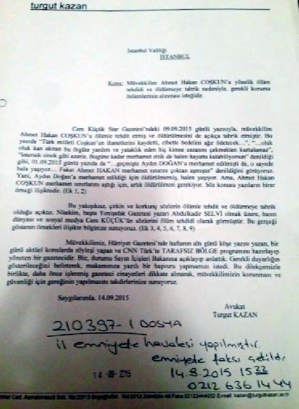 """Valilik """"- Ahmet Hakan'a koruma tahsis edilmedi-iddiası doğru değil"""" dedi ama..."""