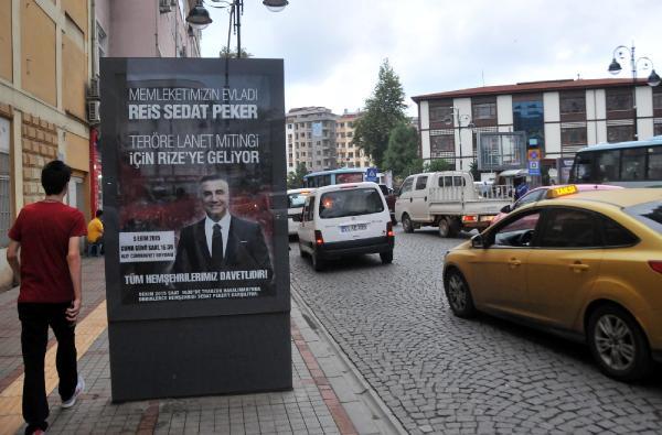 Rize'de 'teröre lanet' mitingine Sedat Peker afişli davet