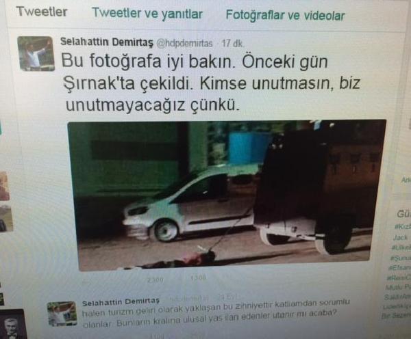 İçişleri Bakanlığı, Demirtaş'ın paylaştığı fotoğrafla ilgili soruşturma başlattı