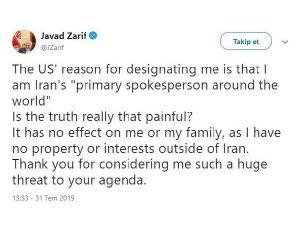 İran: Washington, Zarif'ten korkuyor