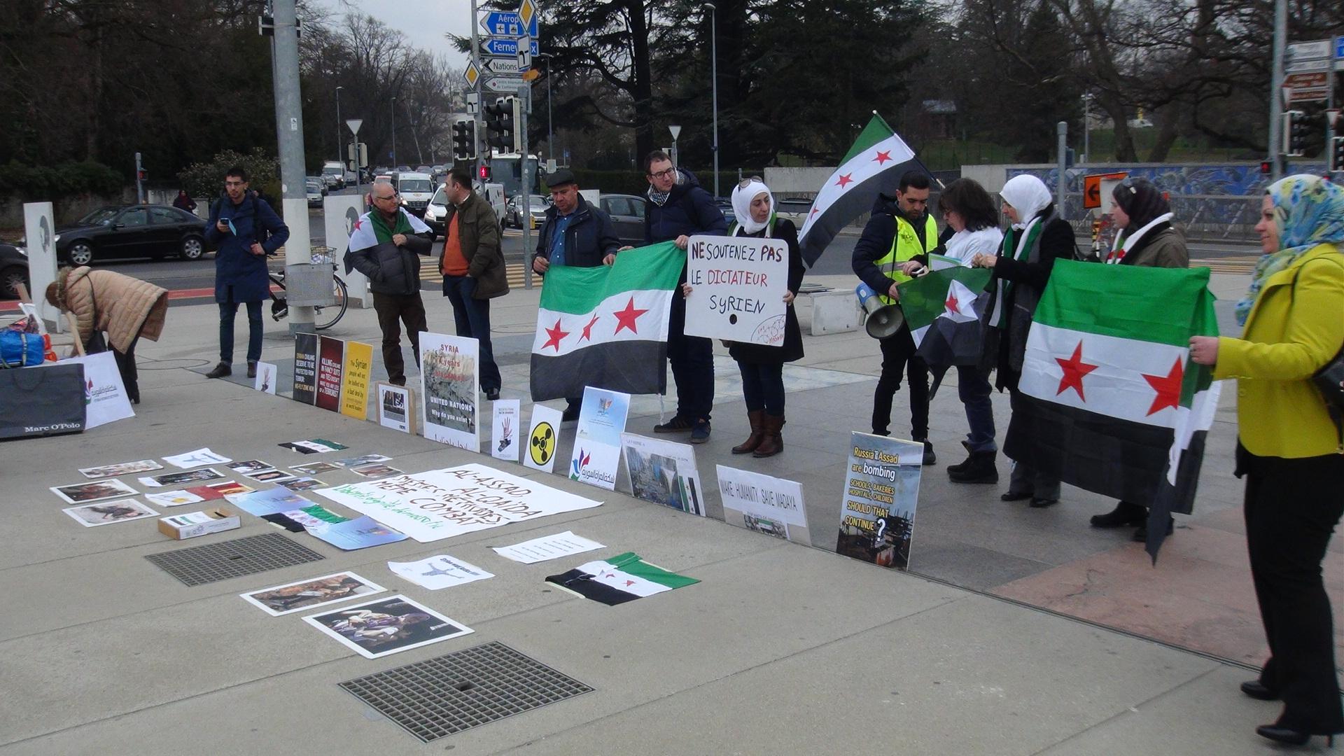 BM önünde Esad protestosu