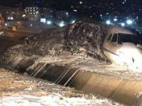 Havalimanında özel jet düştü