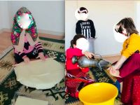 Anaokulu etkinliğinde kız çocuklarına erkeklerin ayağı yıkatıldı
