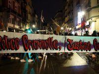 Brüksel'de polis şiddeti protestosu