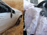 Gurbetçi aileyi hava yastığı kurtardı