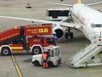 Düsseldorf'ta Pegasus uçağında yangın paniği