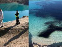 Polis gölü siyaha boyadı