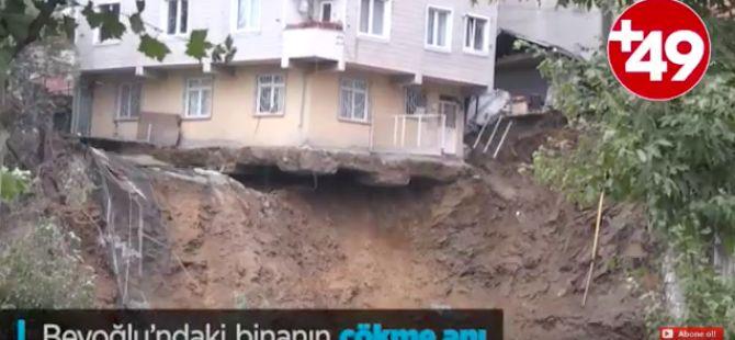 Beyoğlu'daki binanın çökme anı