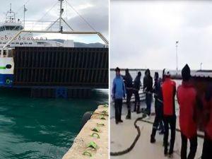 Yolcular gemiyi halatla kıyıya çekti