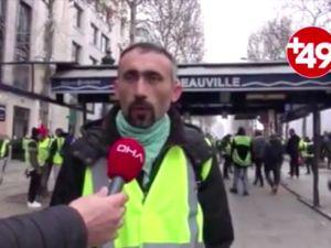 Gurbetçiler sarı yelekleriyle Paris sokaklarında
